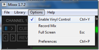 Mixxx Options Enable Vinyl Control