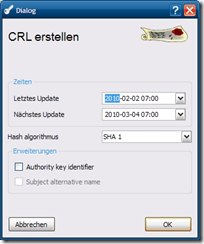 XCA -CRL erstellen
