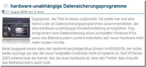 hardware-unabhängige Datensicherungsprogramme