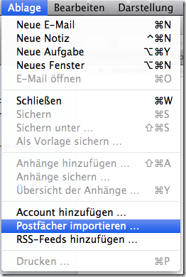 Apple Mail Ablage