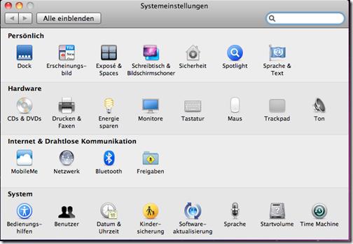 Mac OS X Systemeinstellungen