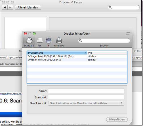 Mac OS X Drucken & Faxen