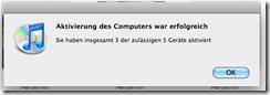 iTunes Computer aktiviert