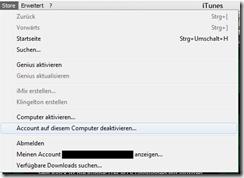 iTunes Computer deaktivieren