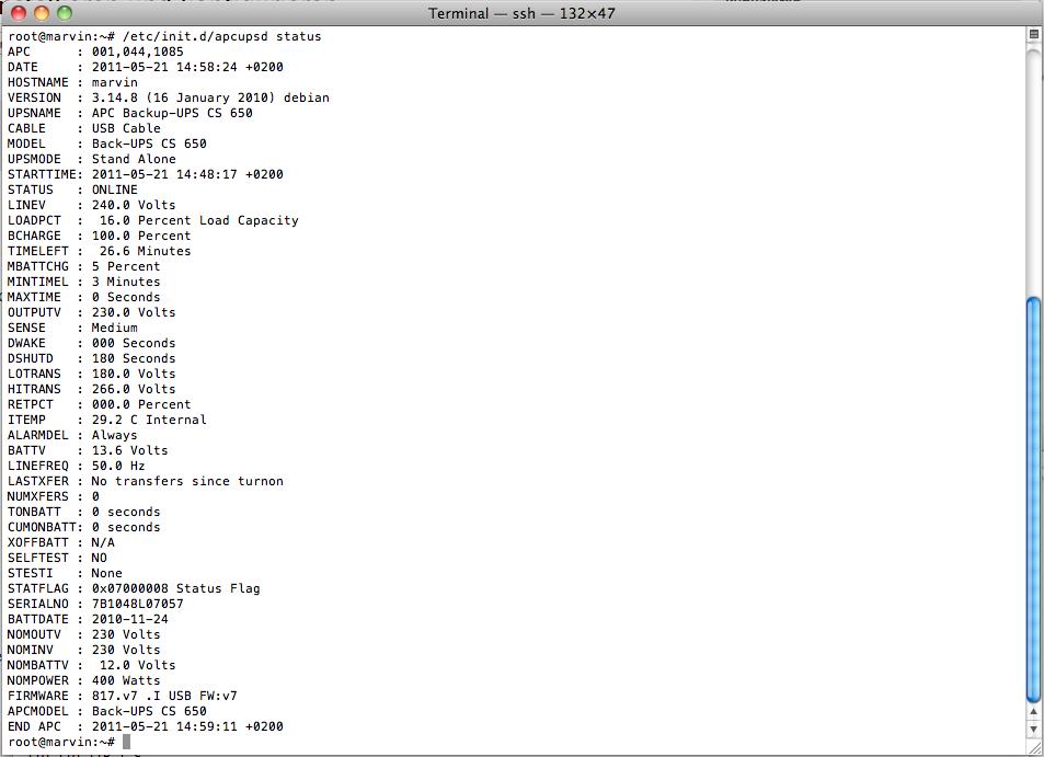 """Linux: APC UPS Daemon unter Debian """"Squeeze"""" installieren und"""