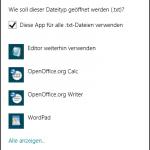 Windows 8: Auswahldialog für das Standardprogramm