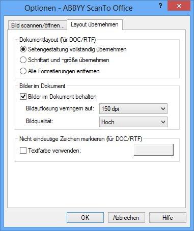 ABBYY ScanTo Office - Assistent - Konvertierungsstellungen - Weitere Optionen - Layout übernehmen