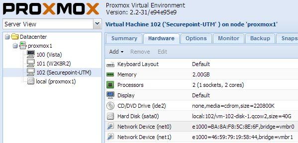 Beispielkonfiguraton einer virtuellen Securepoint UTM unter Proxmox VE