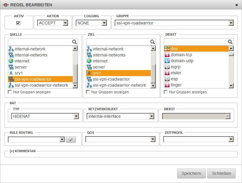 Securepoint OS v11 - SSL-VPN - DNS-Portfilter-Regel
