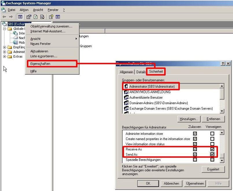 Exchange System Manager - Dienstkonten-Zugriff für den Administrator