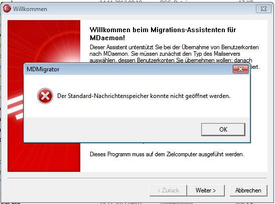 MDaemon - MDMigrator-Fehler - 1