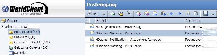 MDaemon und SecurityPlus - E-Mail-Benachrichtigungen