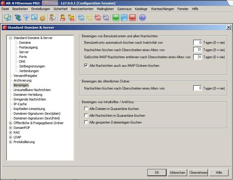 MDaemon - Standard-Domäne & Server - Bereinigen
