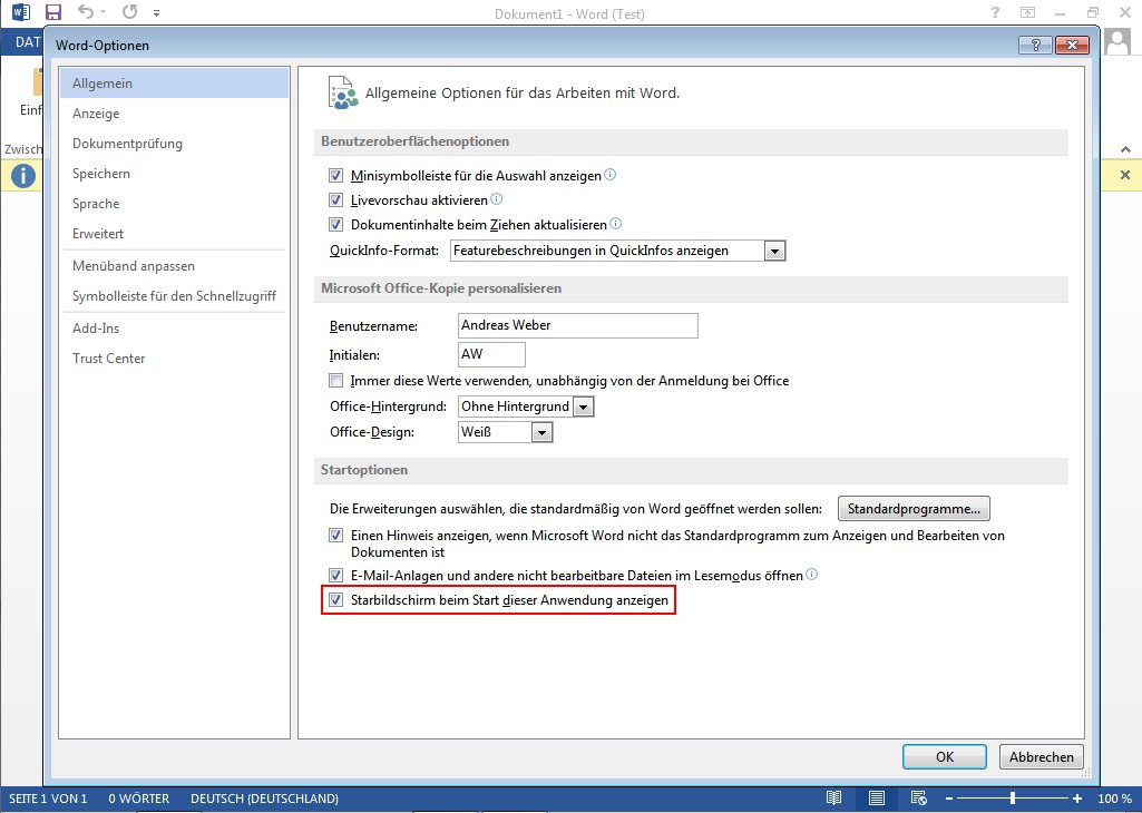 MS Office 2013 - Startbildschirm deaktivieren