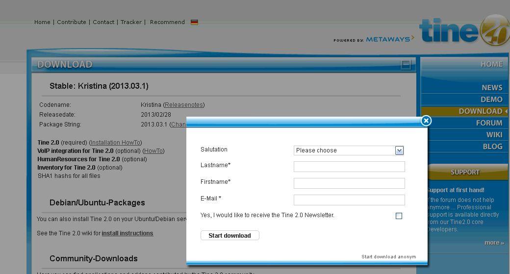 "Tine 2.0 ""Kristina"" - Download-Dialog"