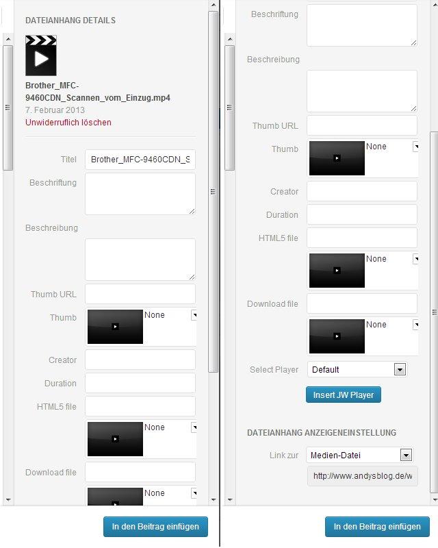 WordPress - JW Player Plugin - Medien hinzufügen