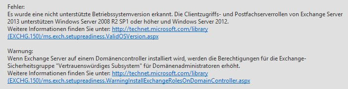 Exchange Server 2013 Setup unter Windows 2012 Essentials