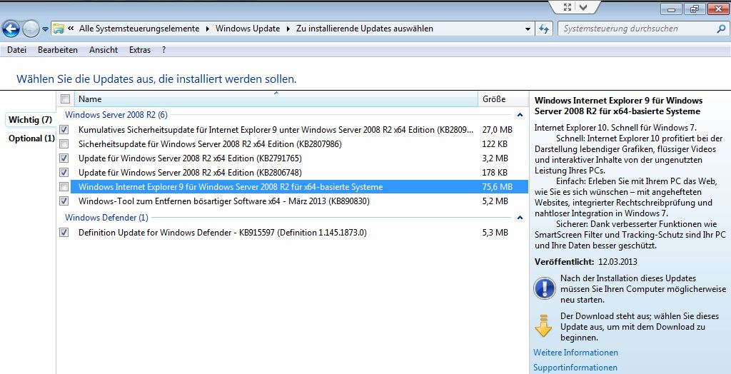 Windows Update: Internet Explorer 9 oder 10?