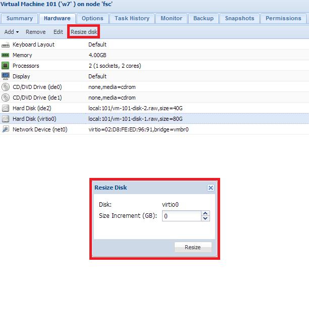 Proxmox VE 2.3 - GUI - Resize disk