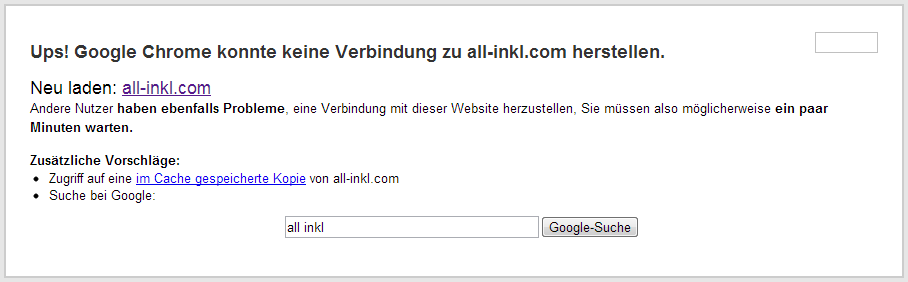 all-inkl Ausfall 12-04-2013 - Google Chrome-Meldung