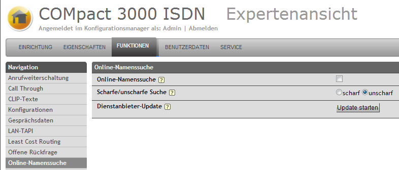 Auerswald COMpact 3000 - Online-Namenssuche