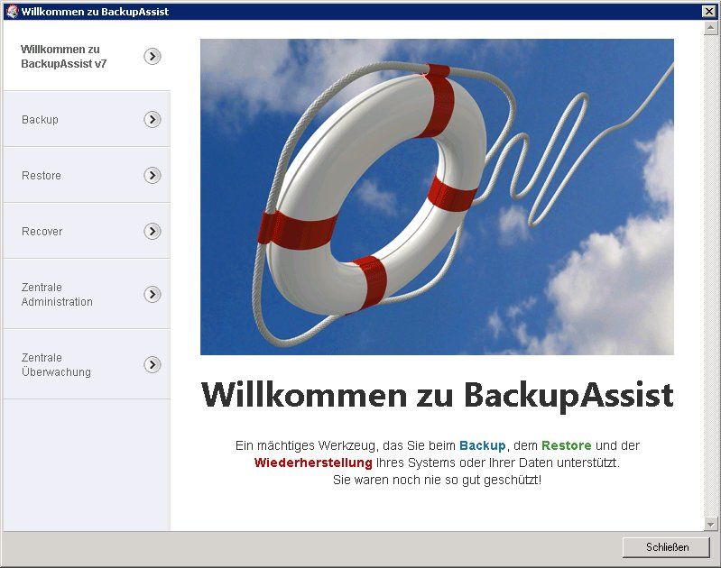 BackupAssist - Willkommens-Assistent