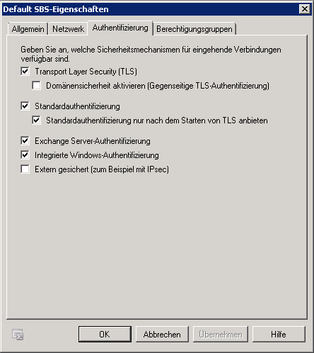 Exchange - Empfangsconnector - Default - Authentifizierung