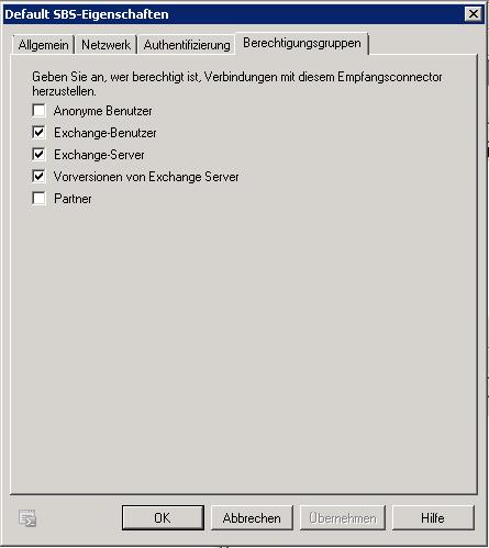 Exchange - Empfangsconnector - Default - Berechtigungsgruppen