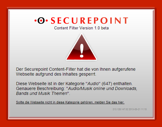 Securepoint Content-Filter sperrt Andy's Blog