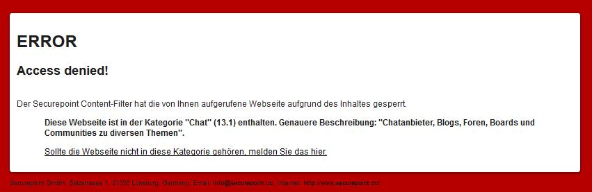 Securepoint UTM v11 - andysblog & Contentfilter