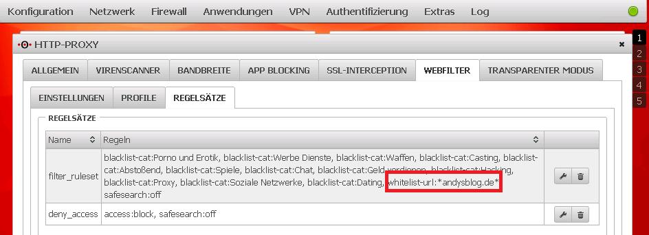 Securepoint UTM v11 - andysblog & Contentfilter-Whitelist