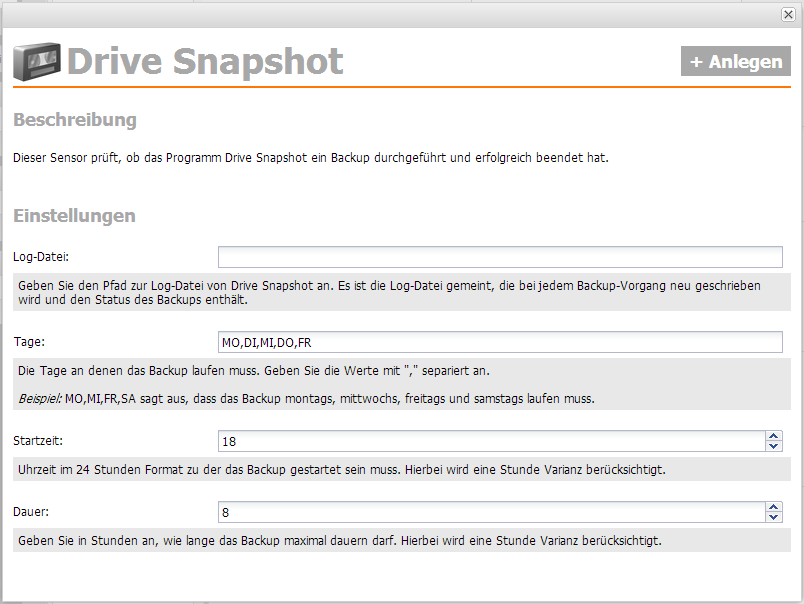 Server-Eye und Drive Snapshot - Sensor anlegen
