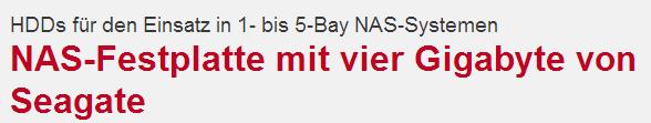 Screenshot: NAS-Festplatte mit vier Gigabyte von Seagate