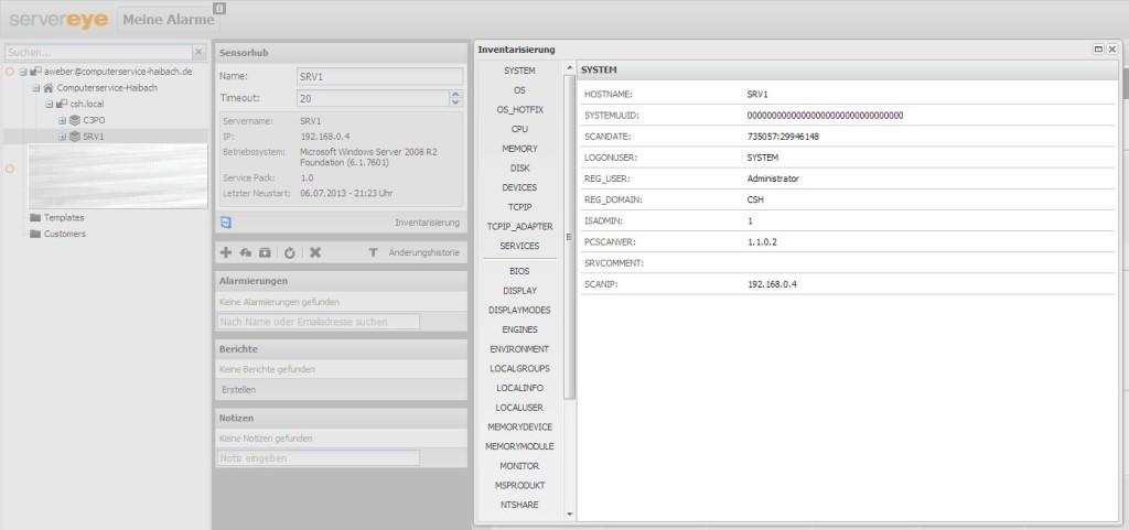 Server-Eye - Inventarisierung