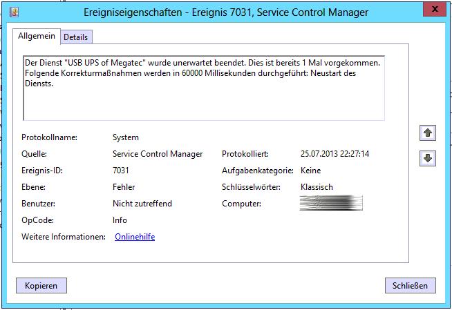 dienst service control manager