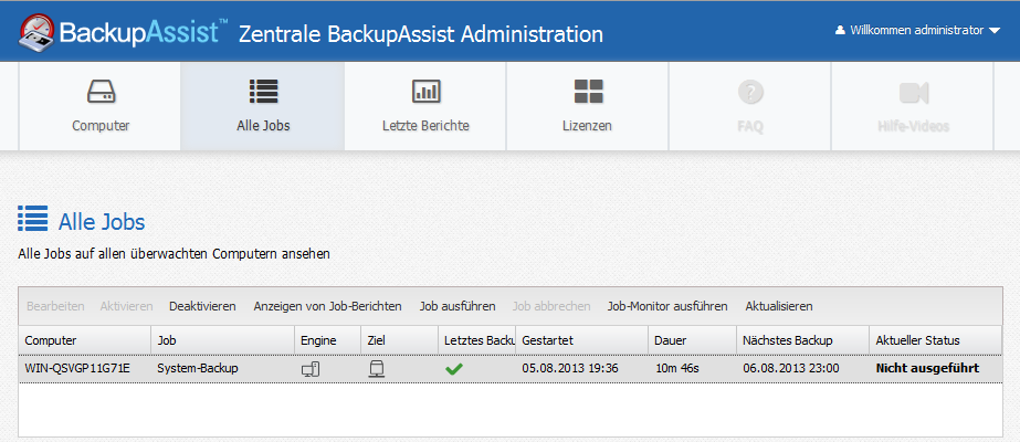 BackupAssist - Zentrale Administration 2