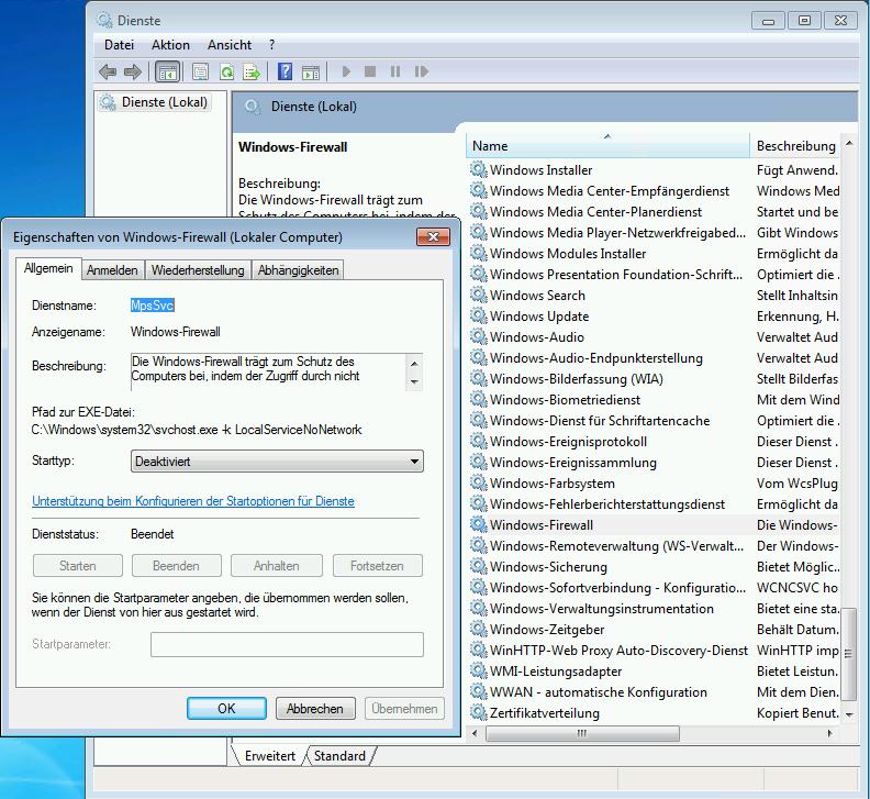 Windows-Firewall deaktivieren