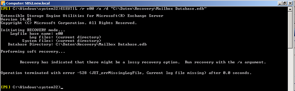 Exchange Server 2010 - eseutil - Recovery