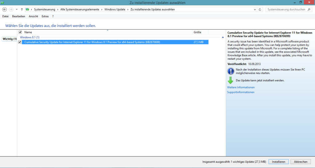 KB2870699 unter Windows 8.1 Pro Preview
