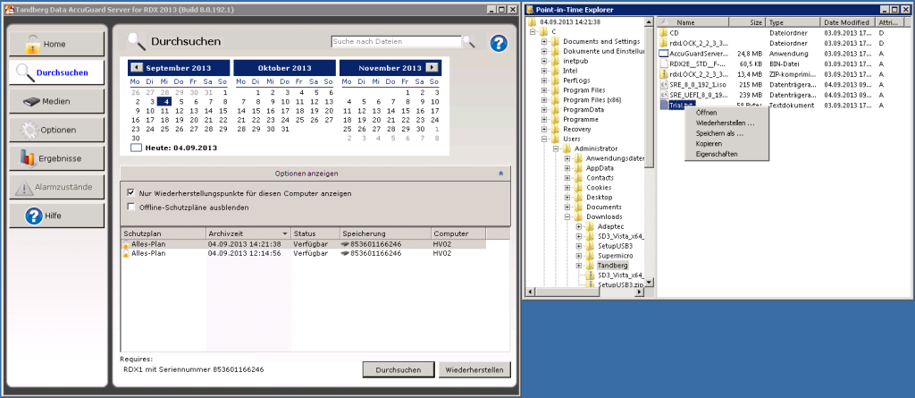 Tandberg AccuGuard Server - Point-in-Time Explorer