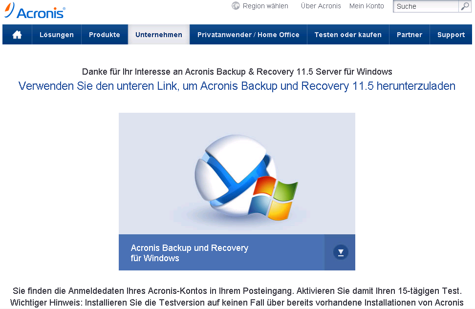 Acronis Trial Download