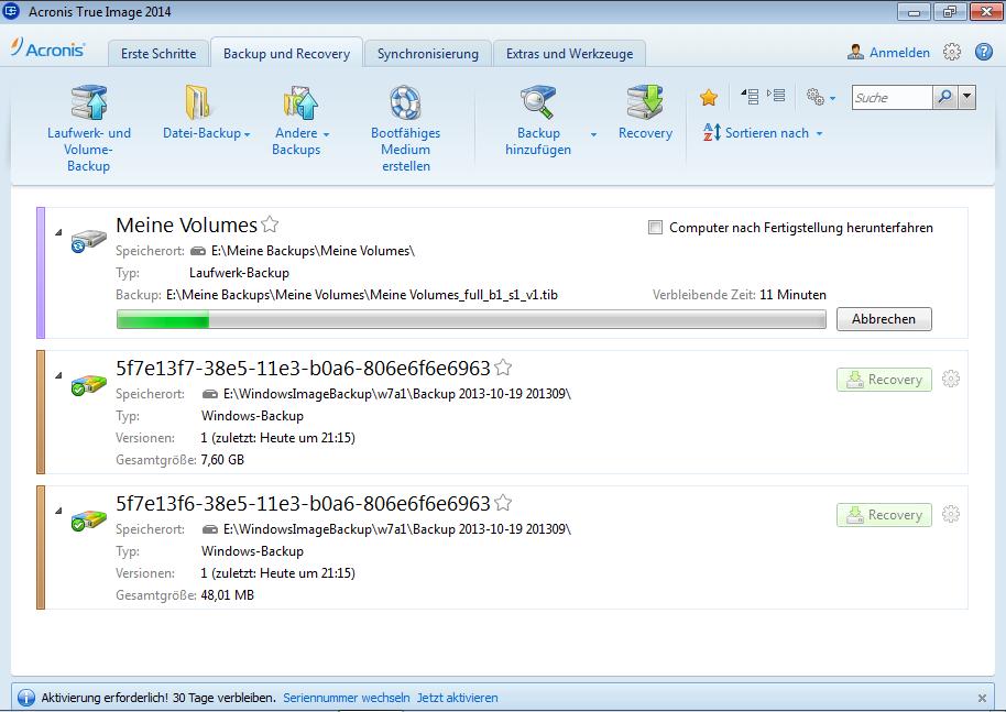 Acronis True Image 2014 - Laufwerk-Backup wird ausgeführt