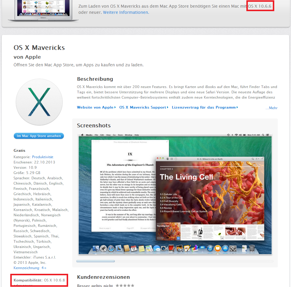 Apple OS X Mavericks - Kompatibilität