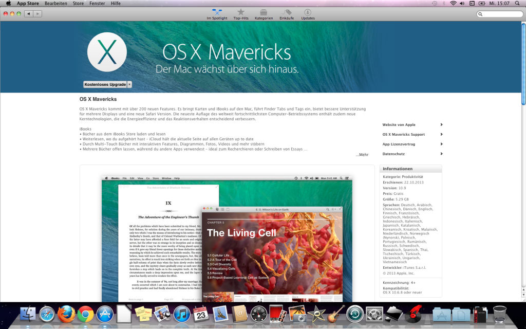 Apple OS X Mavericks im AppStore