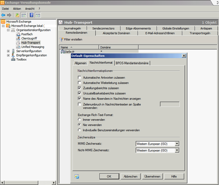 Exchange Server 2010 - Disable RTF