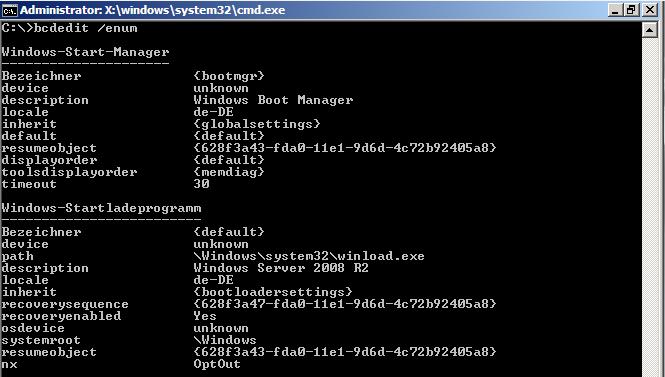 Hyper-V - Test-Restore bcdedit /enum