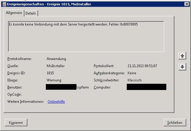 SBS 2011 - Fehler MsiInstaller 1015