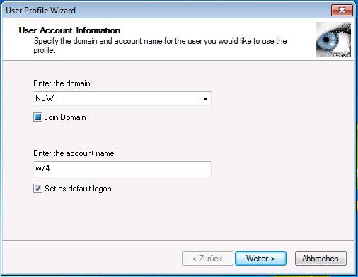 User Profile Wizard - Domäne und Benutzer