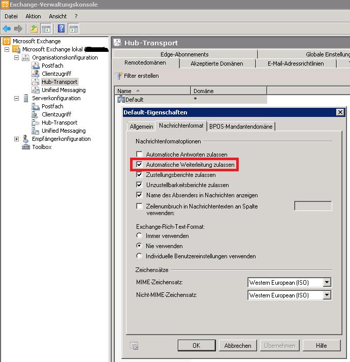 Exchange Server 2010 - Automatische Weiterleitung zulassen