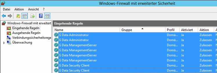 Windows-Firewall - G Data Regeln
